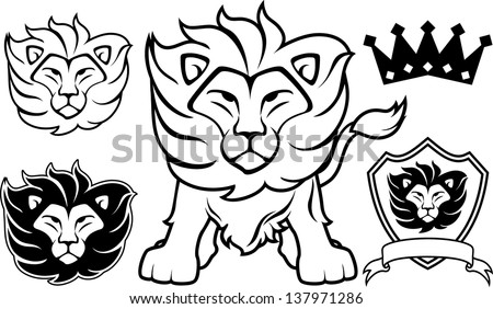 lion head designs isolated on Easy Lion Head Stencil