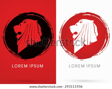 Lion Head, Face, side view, on grunge cycle background, logo, symbol, icon, graphic, vector . - stock vector