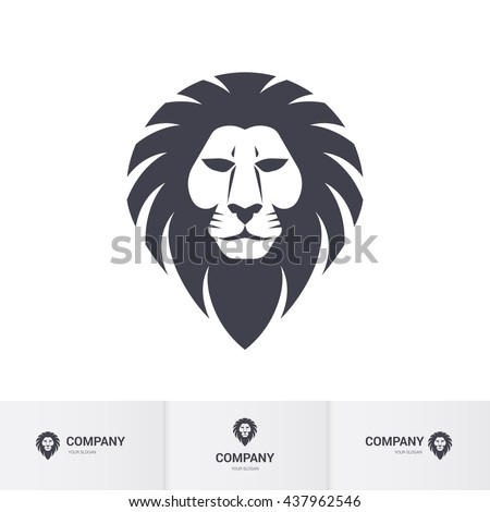 Lion Head for Heraldic or Mascot Design. Illustration on White Background