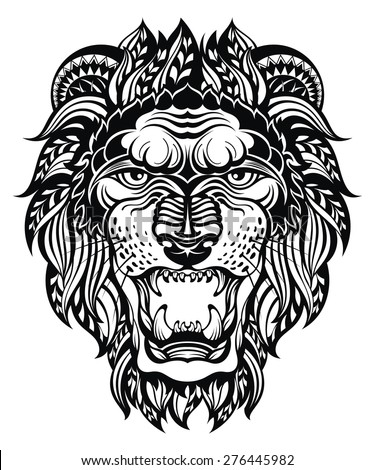 Lion Head Graphic.Leo - stock vector