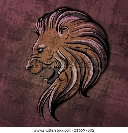 Lion head grunge illustration - stock vector