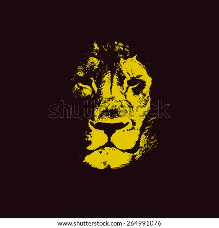 lion head. hand drawn. Grunge vector illustration - stock vector