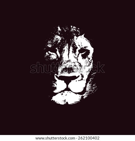 Lion head. Hand drawn. Vector background. - stock vector