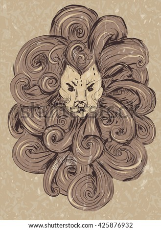 Lion head illustration. stylized, grunge style. vector lion tattoo