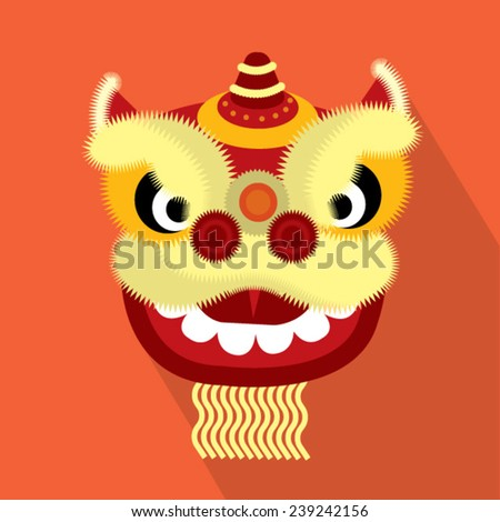 lion head/lion dance head vector/illustration flat design long shadow
