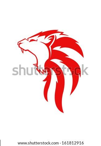 lion head mascot - stock vector