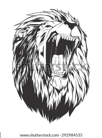 lion head monochromatic logo your tshirt stock vector 292984535