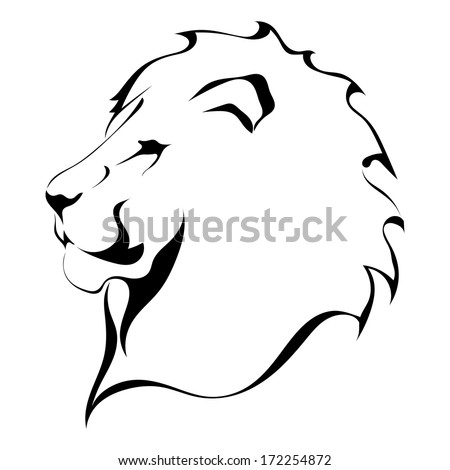 Lion head on a white background. Tattoo - stock vector