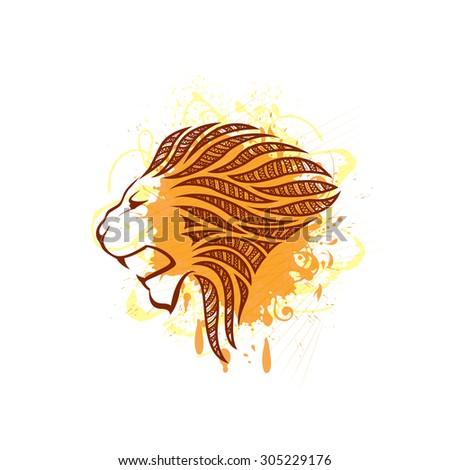 Lion head silhouette - stock vector