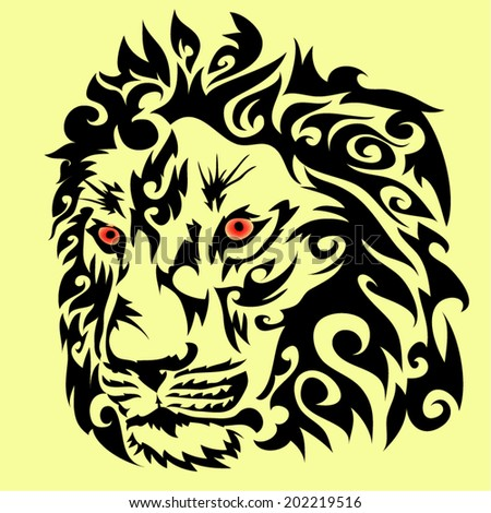 Lion head vector on yellow background color.