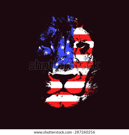 Lion head with USA flag. Hand drawn. Grunge vector illustration - stock vector