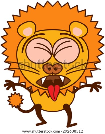 Lion in minimalistic style with rounded ears, bulging eyes, sharp teeth and tufted tail while clenching its eyes, opening its mouth, sticking its tongue out and expressing disgust as for throwing up