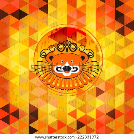 Lion in the circus, geometric background for poster, leaflet, circus program - stock vector