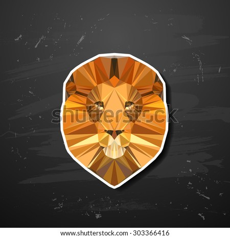 lion in the style of origami abstract triangle polygonal - stock vector
