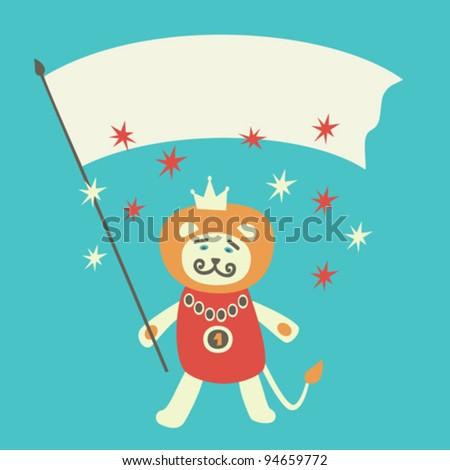 Lion king cartoon greeting card. Vector illustration. - stock vector