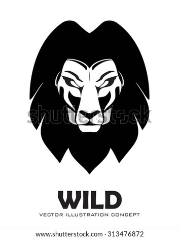 Lion. lion head. elegant lion head in black and white. lion face. lion vector. lion isolated. - stock vector