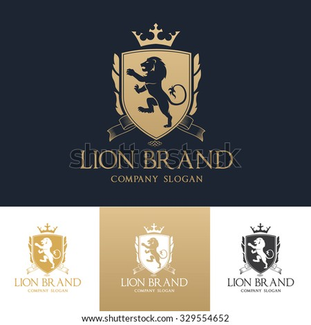 Lion Logo,Boutique brand,real estate,property,royalty,crown logo,crest logo,Vector Logo Template.