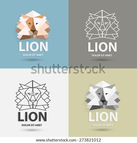 Lion logo design template. Artistic polygonal wild animals, logotype set. Trendy business concept. Vector illustration. - stock vector