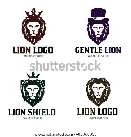 Lion Logo Design Template King Set Gentle Vector Illustration