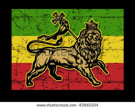 Lion of Judah Flag - stock vector