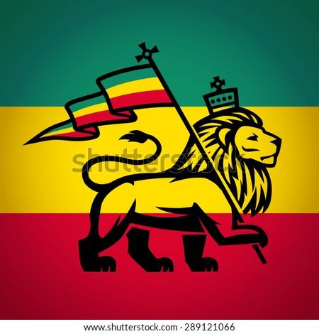 Rastafari Flag Lion Of Zion Illustration Reggae Music Vector Design