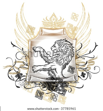 Lion on Scroll Insignia - stock vector