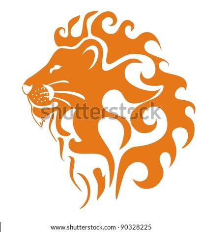 Lion's profile - stock vector