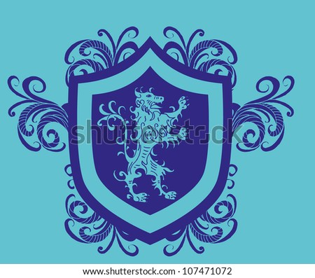 lion shield - stock vector