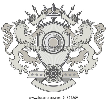 Lion shield Crest - stock vector