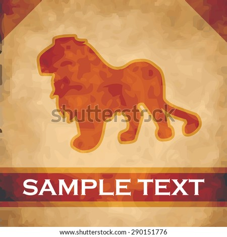 Lion silhouette on parchment with dark brown and gold ribbon - stock vector