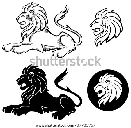 Lion Siluette Insignia - stock vector
