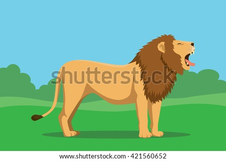 lion single isolated with tree and bush background vector graphic illustration vector graphic illustration - stock vector