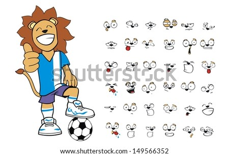 lion soccer kid cartoon set in vector format very easy to edit - stock vector