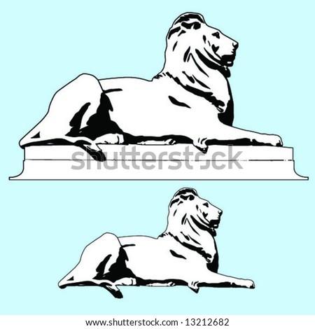 lion statue - stock vector