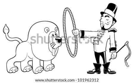 Lion Tamer With Funny Cartoon And Vector Black White Illustration