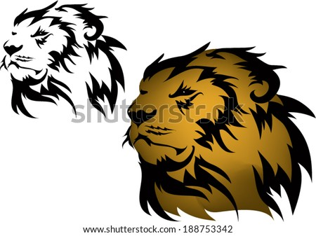 Lion tattoos and designs. - stock vector