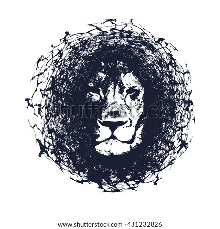 Lion. Vector illustration in grunge style. Element for your design. - stock vector
