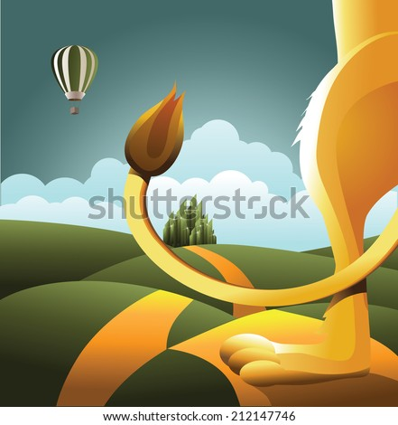 Lion watches balloon. EPS 10 vector, grouped for easy editing. No open shapes or paths. - stock vector
