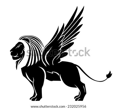 lion wing tattoo - stock vector