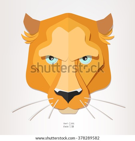 Lioness face paper portrait. Cute and beautiful big cat face. Kids vector illustration isolated on light background. - stock vector