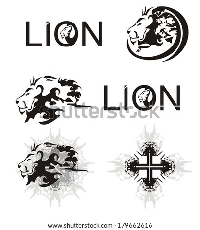 Lions heads, lions cross, lions text - stock vector
