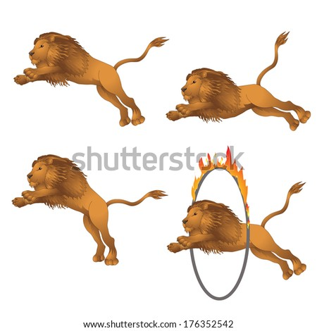 Lions in the jump. vector illustration - stock vector