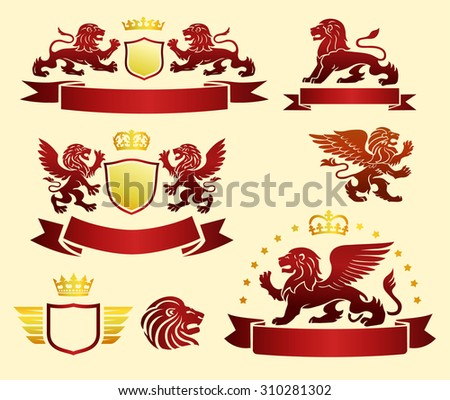 Lions set with banners and crowns - stock vector