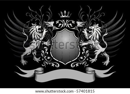 Lions Shield and Crown Winged Insignia - stock vector