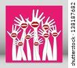 Lip hands party design. - stock vector