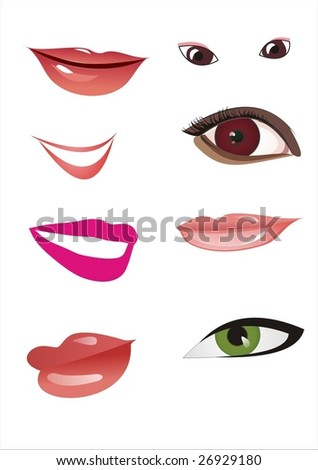 lips and eye, vector
