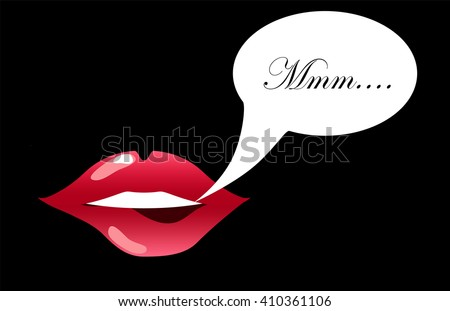 Lips biting with text bubble vector illustration for background, sensual lips of a woman smiling, glossy lipstick picture, girl's kissing mouth, woman's pretty smile, pink lips isolated, teeth icon - stock vector