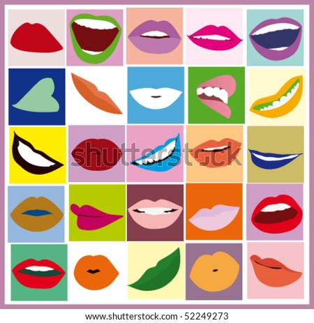 Lips women pop art - stock vector
