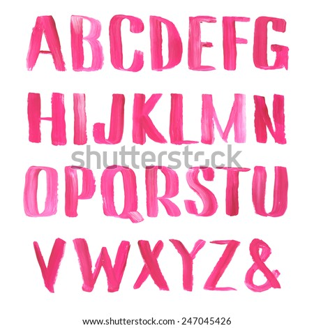 Lipstick and nail polish font. Hand drawn red oil painting alphabet. - stock vector