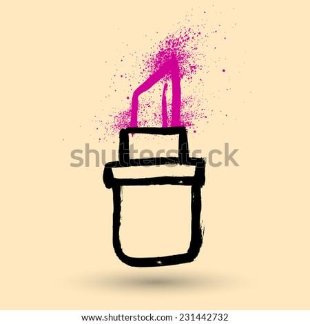 Lipstick. Grunge illustration. - stock vector